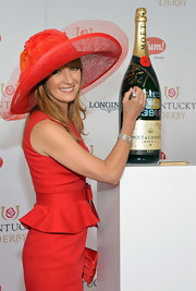 Jane Seymour sported an all-red ensemble at the Kentucky Derby Moet & Chandon toast, topped off with a lovely flower-embellished hat.