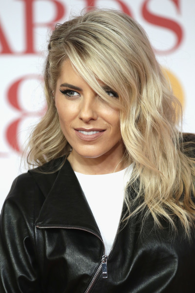 Mollie King Long Wavy Cut with Bangs [hair,blond,hairstyle,layered hair,long hair,chin,hair coloring,brown hair,feathered hair,leather,red carpet arrivals,mollie king,brit awards,relation,the o2 arena,england,london]