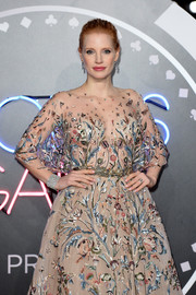 Jessica Chastain's thick diamond bracelet and embellished dress at the UK premiere of 'Molly's Game' were a gorgeous pairing!