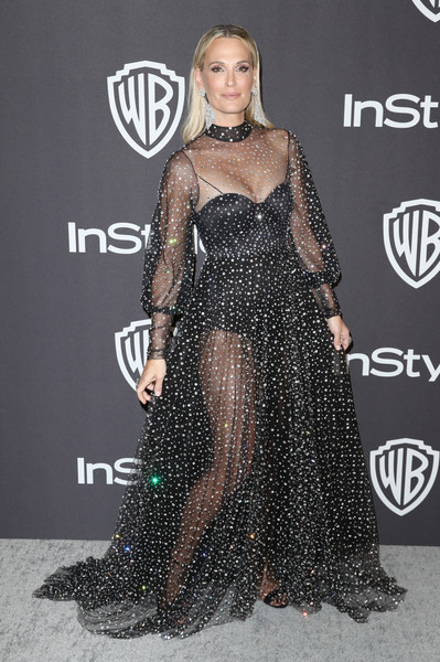 Molly Sims Sheer Dress [clothing,carpet,shoulder,fashion model,red carpet,dress,fashion,hairstyle,joint,long hair,molly sims,beverly hills,california,the beverly hilton hotel,instyle,golden globes,warner bros.,arrivals,party]