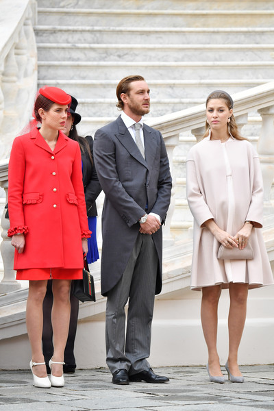 Charlotte Casiraghi styled her look with white Mary Jane pumps, also by Gucci.