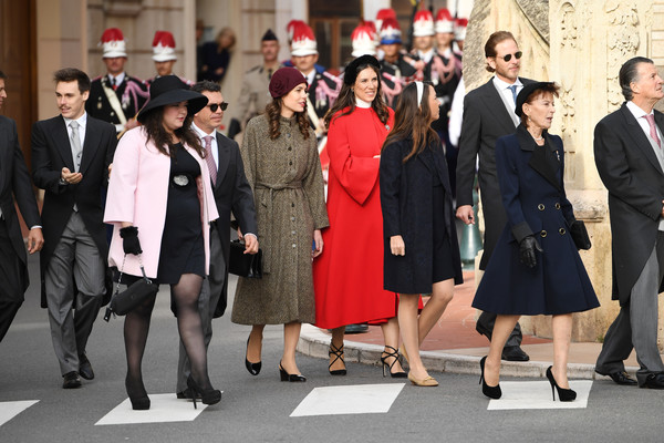 Charlotte Casiraghi attended the Monaco National Day celebration wearing a brown coat dress by Vanessa Seward.