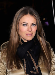 Elizabeth Hurley wore her long locks sleek and straight at the Moncler Grenoble fall 2012 presentation.