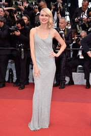 Naomi Watts brought some Old Hollywood sparkle to the Cannes premiere of 'Money Monster' with this slinky silver beaded gown by Michael Kors.