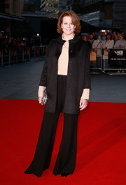Sigourney Weaver layered a black coat with a beaded neckline over a nude blouse for the BFI London Film Festival screening of 'A Monster Calls.'