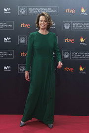Sigourney Weaver opted for a simple long-sleeve green gown when she attended the San Sebastian Film Festival premiere of 'A Monster Calls.'