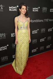 Charlotte Casiraghi was a standout in a yellow jacquard gown by Gucci at the Montblanc 110th anniversary dinner.