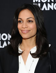 Rosario Dawson attended the Montblanc pre-Oscar brunch wearing her hair on shiny layers.