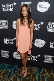 Jamie Chung paired chic silver cap-toe pumps with a mini dress for Montblanc's 24 Hour Plays.