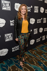 Sasha Alexander was in a mix-and-match mood during Montblanc's 24 Hour Plays. She teamed colorful print pants with a mustard top and a textured leather jacket.