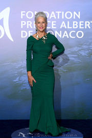Helen Mirren chose an asymmetrical green gown by Dolce & Gabbana for the Monte-Carlo Gala for Planetary Health.