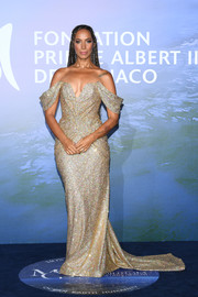 Leona Lewis glittered in a gold off-the-shoulder gown by Pamella Roland at the Monte-Carlo Gala for Planetary Health.