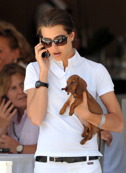 Charlotte Casiraghi kept it sporty with a black polyurethane watch.