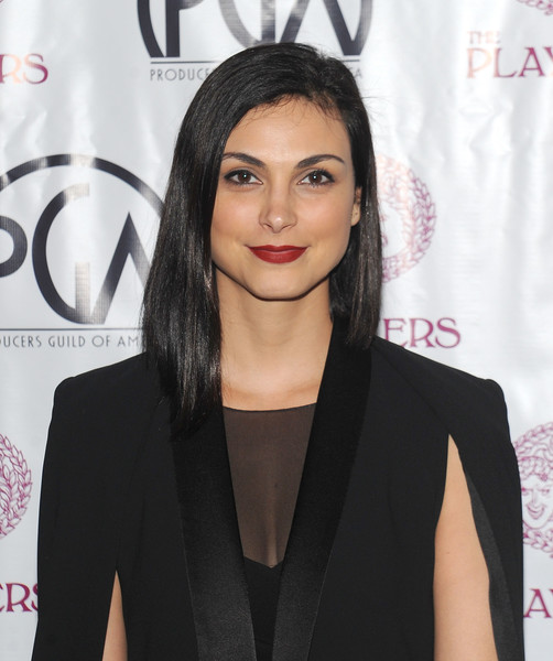 Morena Baccarin Asymmetrical Cut [hair,hairstyle,eyebrow,shoulder,black hair,lip,little black dress,dress,joint,long hair,nominees,morena baccarin,producers guild award,new york city,the players club,new york celebration]