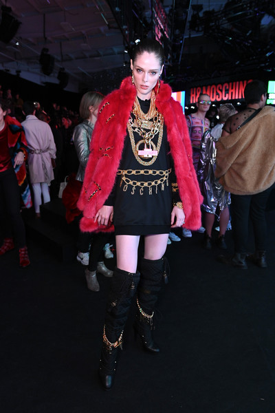 More Pics of Coco Rocha Over the Knee Boots (4 of 5) - Boots Lookbook - StyleBistro [clothing,fashion,pink,footwear,costume,goth subculture,fashion design,event,gothic fashion,fashion accessory,coco rocha,front row,pier 36,new york city,moschino,h m]