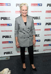 Glenn Close attended the 'Mother of the Maid' opening night celebration wearing a double-breasted gray blazer.