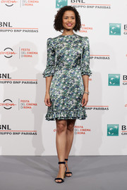 Gugu Mbatha-Raw kept it ladylike in a floral dress with a ruffled hem and sleeves at the Rome Film Fest photocall for 'Motherless Brooklyn.'