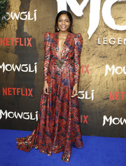 Naomie Harris looked festive in a Dundas gown with a plunging neckline and a bejeweled waist at the special screening of 'Mowgli: Legend of the Jungle.'