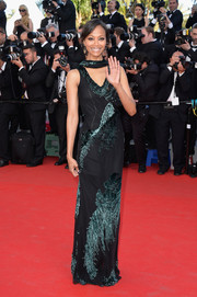 Zoe Saldana wore a sleek and sophisticated embellished black gown by Jason Wu to the 'Mr. Turner' premiere.
