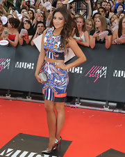 Shay had fun with patterns when she sported this bold print crop top and matching pencil skirt at the MuchMusic Video Awards.