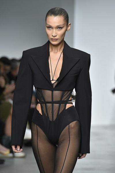 More Pics of Bella Hadid Strappy Sandals (3 of 14) - Heels Lookbook - StyleBistro [fashion model,fashion,fashion show,clothing,runway,beauty,model,haute couture,event,thigh,bella hadid,part,runway,summer 2020,paris,france,mugler womenswear spring,mugler : runway - paris fashion week,show,paris fashion week]