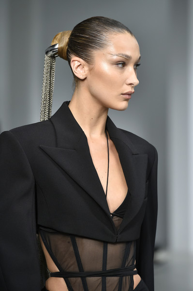 More Pics of Bella Hadid Strappy Sandals (4 of 14) - Bella Hadid Lookbook - StyleBistro [hair,fashion model,hairstyle,clothing,fashion,beauty,haute couture,model,formal wear,suit,bella hadid,part,runway,summer 2020,paris,france,mugler womenswear spring,mugler : runway - paris fashion week,show,paris fashion week]