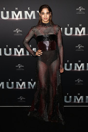 Sofia Boutella was edgy-sexy in a sheer camo gown by Prabal Gurung at the Australian premiere of 'The Mummy.'