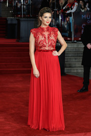 Carly Steel wore an embroidered-bodice gown in a vibrant red hue when she attended the world premiere of 'Murder on the Orient Express.'