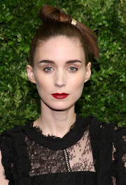 Rooney Mara's red lipstick looked striking against her pale complexion.