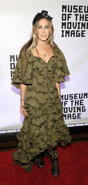 Sarah Jessica Parker attended the Museum of the Moving Image 30th Annual Salute wearing a high-low olive-green ruffle dress by Rosie Assoulin.
