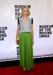 A bright green maxi skirt brought Indre Rockefeller's look to a punchy finish.