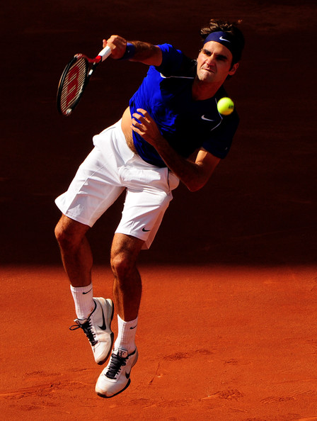 Roger Federer almost always wears a simple Nike headband while playing in pro tennis matches.