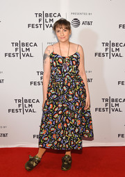Lena Dunham went for a breezy abstract-print sundress when she attended the Tribeca Film Fest premiere of 'My Art.'