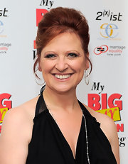 Caroline Manzo styled her hair in an elegant loose updo for the 'My Big Gay Italian Wedding' opening night.