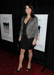 Neve Campbell looked timelessly elegant in a striped gray blazer at the New York premiere of 'My Soul to Take.'