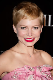Michelle Williams attended the Paris premiere of 'My Week With Marilyn' wearing a shiny bright cherry red lipstick.