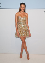 Rachael Finch glistened in a beaded gold strapless dress during the Myer Spring 2015 fashion launch.
