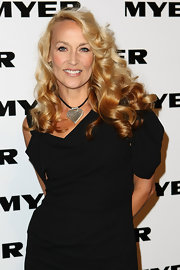 Jerry Hall showed off her long flowing curls while hitting a launch party in Australia.