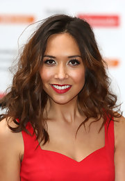 Myleene complemented her red dress with a bold crimson lip color.