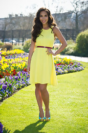 Myleene Klass was a doll in this flirty neon day dress.