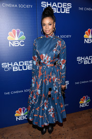 Susan Kelechi Watson chose a Polite floral frock with a high neck and a pleated hem for the premiere of 'Shades of Blue' season 2.