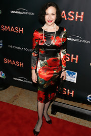 Bebe Neuwirth wore a floral satin dress to the 'Smash' premiere in NYC.