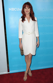 Juliette Lewis attended the Winter TCA All-Star Party in a sleek white wrap-dress.