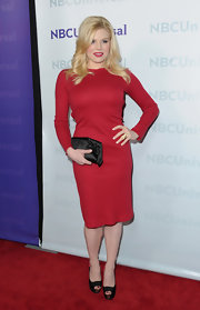 Megan Hilty kept things bright and simple in a long-sleeve sheath dress for the TCA All-Star Party.
