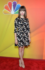 Cristin Milioti kept it demure and feminine in a monochrome floral frock during the NBC Upfront Presentation.