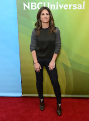 Jillian Michaels kept it low-key with a black and gray crewneck sweater at NBCUniversal's 2013 Winter TCA Tour.