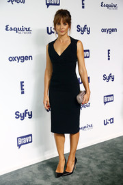 Stephanie Szostak went for simple elegance in a sleeveless LBD during the NBCUniversal Cable Entertainment Upfronts.