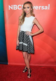 Giuliana Rancic hit the NCBUniversal Press Tour red carpet wearing a sleeveless mini dress with a geometric-patterned skirt.