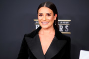 Lea Michele sported a slicked-down straight hairstyle at the NFL Honors.