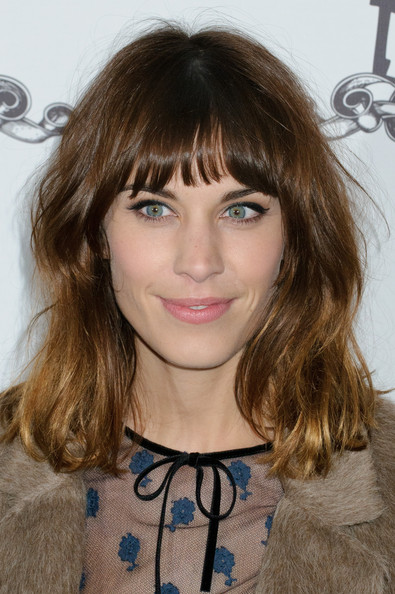 More Pics of Alexa Chung Medium Wavy Cut with Bangs (3 of 3) - Alexa Chung Lookbook - StyleBistro